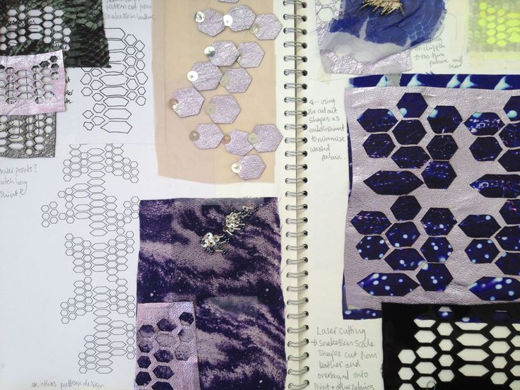 Fashion Sketchbook - laser cut fabric experimentation - surface pattern pages; the fashion design process