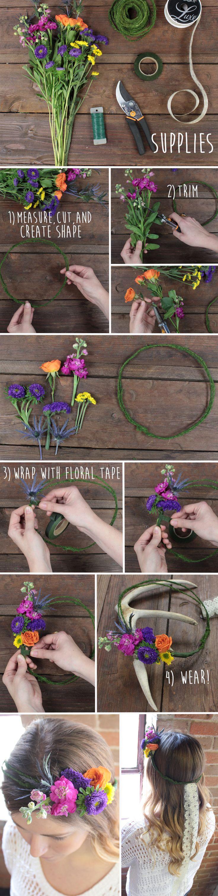 Cómo hacer una corona de flores. #diy #tocados #boda