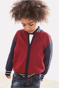 Красная/темно-синяя бейсбольная куртка на молнии (3 мес.-6 лет)