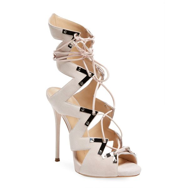 Giuseppe Zanotti Women's Suede High Heel Sandal - Cream/Tan, Size 37 ($625) ❤ liked on Polyvore featuring shoes, sandals, tan suede shoes, giuseppe zanotti sandals, high heels sandals, crisscross sandals and giuseppe zanotti shoes