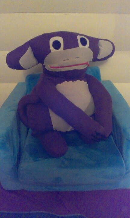 My first PJ- animal. Supposed to be a monkey.. Room for PJ's in his belly!