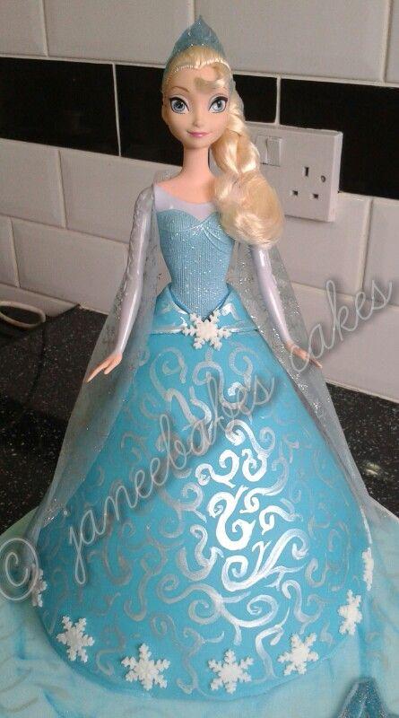 Elsa cake. Disney princess / queen Elsa from frozen cake.  Doll skirt cake hand painted detail. (janeebabes cakes)