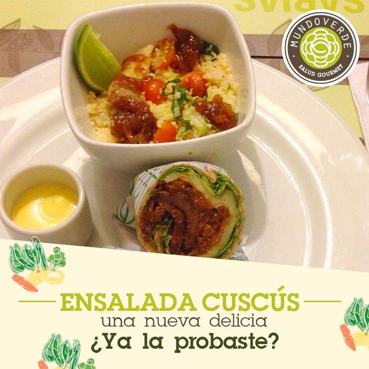 Este es nuestro recomendado para que complementes tu #MenúSaludable:  #ensalada de #cuscús, tomate cherry, cebolla caramelizada, pepino, albahaca, limón y vinagreta de mostaza, ¡deliciosa!
