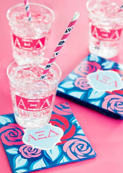 My Paper Shop.com - Alpha Xi Delta sorority party supplies are a stylish and cost-effective choice for hosting social gatherings and fundraisers. This Greek theme collection features the Alpha Xi Delta Greek letters and printed name on paper beverage napkins, plastic glasses and paper party straws. You can coordinate this ensemble with our solid colored white and classic pink tableware supplies and decorations to complete your event setting. Our sorority party ensembles will add a personal…