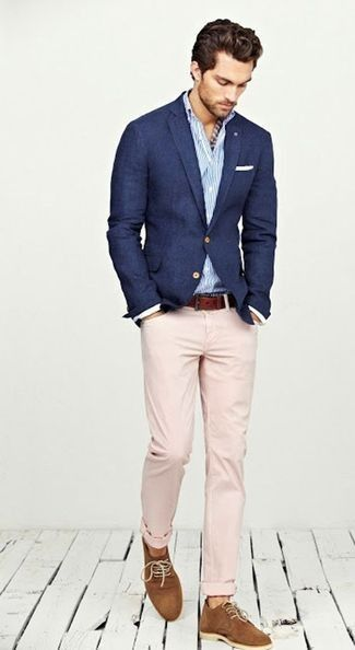 Men's Navy Blazer, White and Blue Vertical Striped Longsleeve Shirt, Brown Suede Derby Shoes, Brown Leather Belt, Pink Chinos, and White Pocket Square