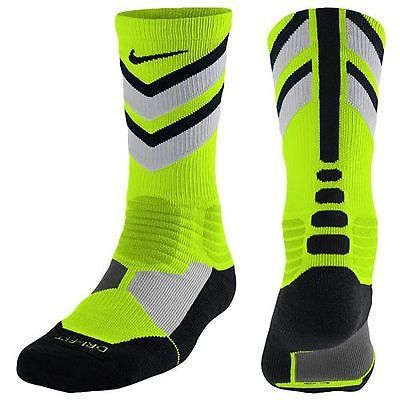 Nike Hyper Elite Chase Crew Sock Socks Volt Grey Mens Size 6-8 One Pair NEW!