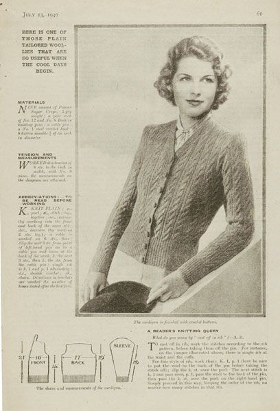 The   Vintage   Pattern   Files: 1940's Knitting - A New Design in Cable Stitch