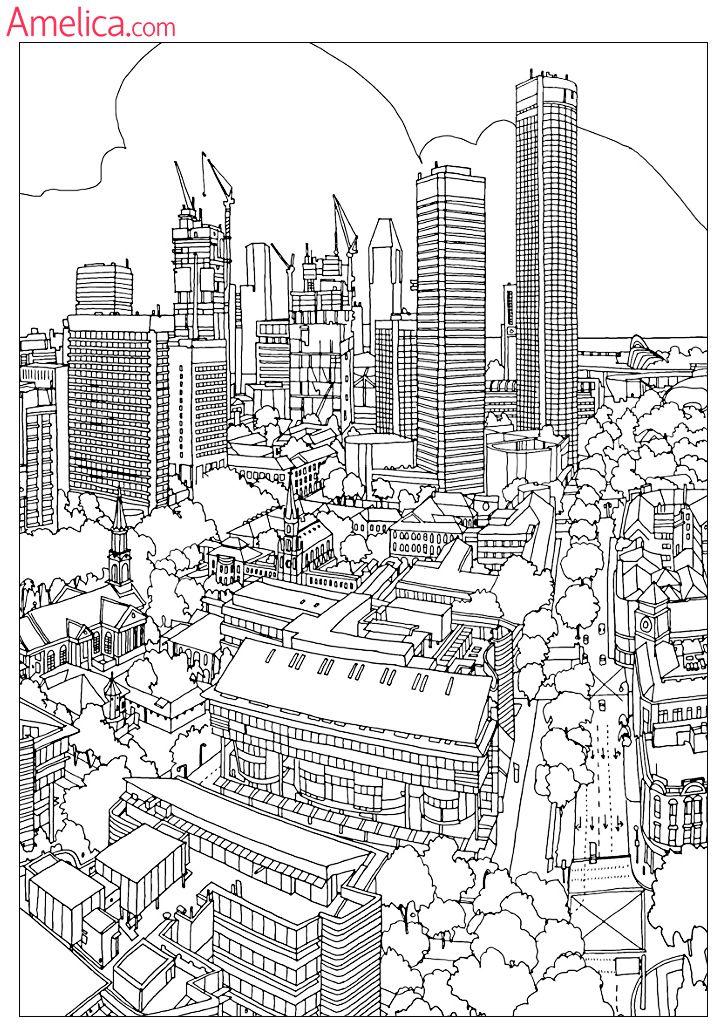 Сложные раскраски для взрослых антистресс скачать, картинки для раскрашивания здания, архитектура, сказочный город,…