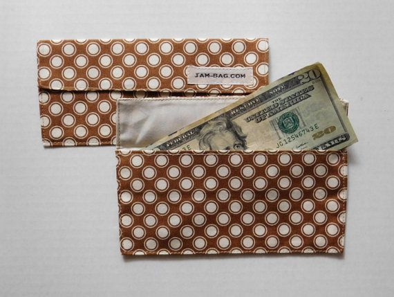 Marron et Beige Double pois - enveloppe en tissu, pochette voyage, enveloppes d'argent, enveloppes d'argent, enveloppe, enveloppes d'argent tissu