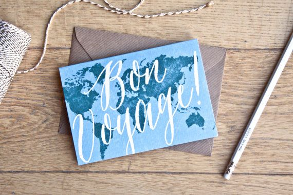 Bon Voyage card, leaving card, leaving present, travelling gift
