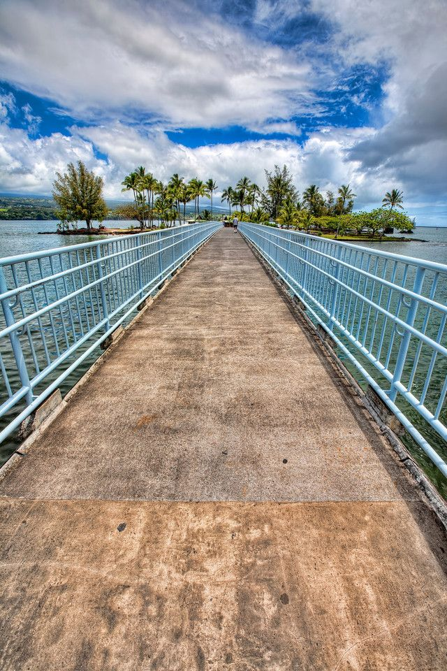 Coconut Island Bridge - Hilo, Hawaii - a Very small island easily accessible from a parking lot near a hotel.