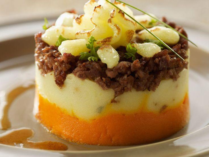 Découvrez la recette Parmentier tricolore sur cuisineactuelle.fr.