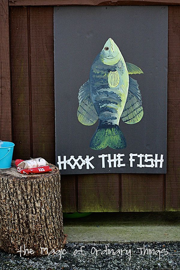 Diy hook the fish. Cut out little fish hooks and just roll on some double sided tape on the back of the hook!