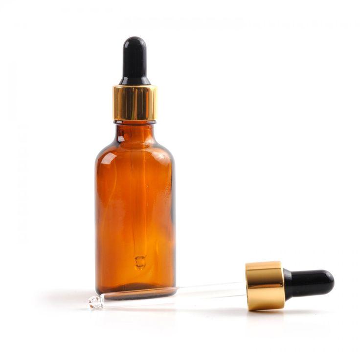 Sklenená fľaška, liekovka, kvapátko zlaté, 30 ml
