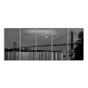 ''George Washington Bridge Stretched' 5 Piece Photographic Print on Canvas Set