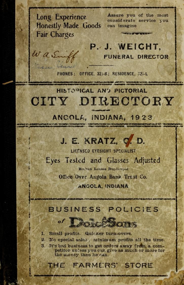 1923 Historical and Pictorial Directory of Angola Indiana - http://www.accessgenealogy.com/indiana/1923-historical-pictorial-directory-angola-indiana.htm