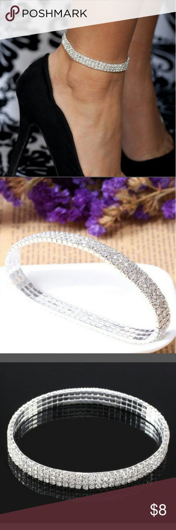 New Beautiful Diamond Ankle Bracelet New Silver color and diamonds Ankle Bracelet. New never used just like the photos really cute. Its a stretchy ankle bracelet to adjust to your ankle. New very cute never used. Jewelry