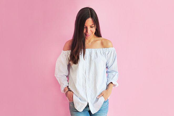 Wenn dein Liebster seinealten Hemden im Schranknicht mehr trägt und sie auch nicht weggeben mag, haben wir eine perfekte Lösung: Upcycling! Nähe dir im Handumdrehen eine stylishe Off-Shoulder-Bluse aus einem Männerhemd. Wir zeigen dir, wie einfach und schnell das geht!
