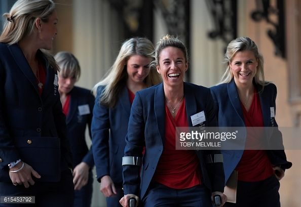 British Olympic women's hockey team members including Susannah Townsend arrives to attend a reception for Team GB's Olympic and Paralympic athletes...