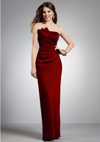 Column Strapless Pleated Floor-length Lace Up Back Bridesmaid Dresses