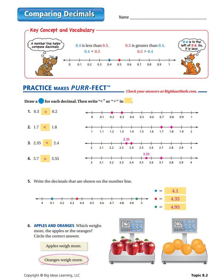 Comparing decimals worksheets pdf