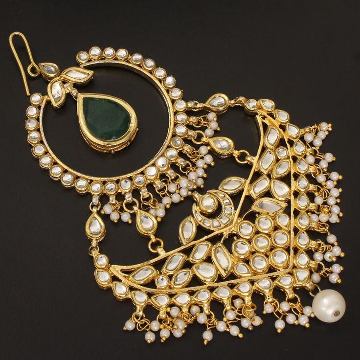 Pearl Beads Polki Hair Jewellery Mugal Jhoomer @ Indiatrend For $65.99USD
