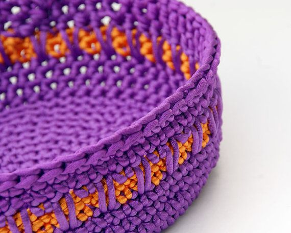 Purple and Orange Satin Cord Crochet Basket by lissabeecreations, $40.00