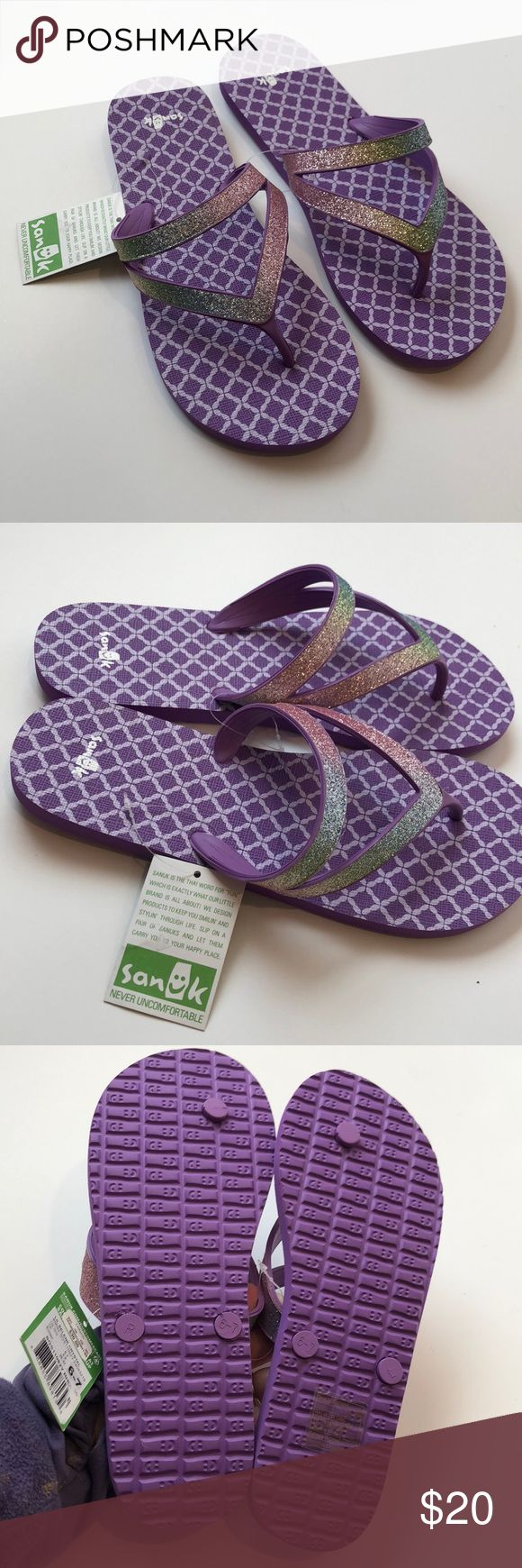 NWT Sanuk purple flip flops size 6-7 Lil Selene Crystal flip flops from Sanuk. NEW with tags attached.  Size 6-7. Sanuk Shoes Sandals