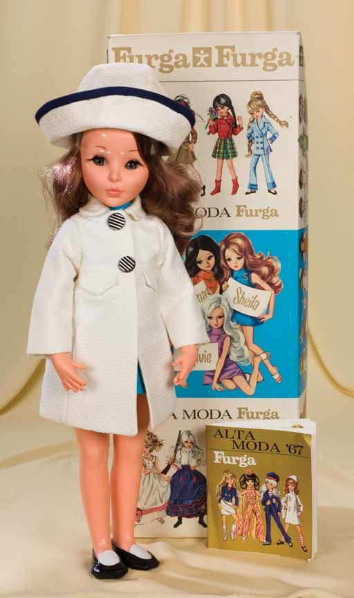 "17"" vinyl Sheila doll with booklet and box, wearing Palazzo Pitti costume (no. 8781), includes three individually boxed pairs of shoes and stand, sold in the United States by F.A.O. Schwarz, Italy, 1967, by Furga."