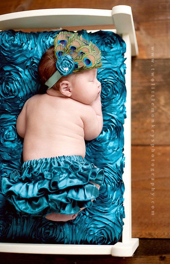 Baby photo prop Ruffled Peacock diaper cover by BottomsUpBoutique, $45.95