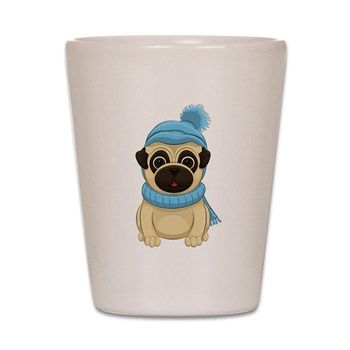 Warm up this winter with this Winter Pug Shot Glass from cafepress store: AG Painted Brush T-Shirts. #pug #Winter #shotglass