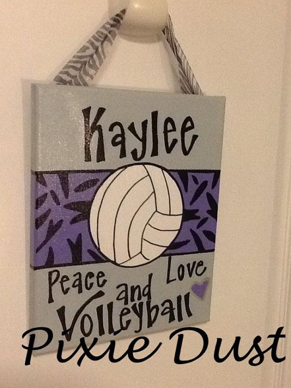 Peace love and Volleyball hand painted by PixieDustLouisville