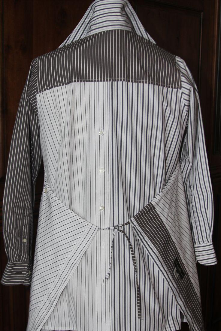 Recycled Men's Dress Shirt - back view of Voque pattern #1274 by Lynn Mizono