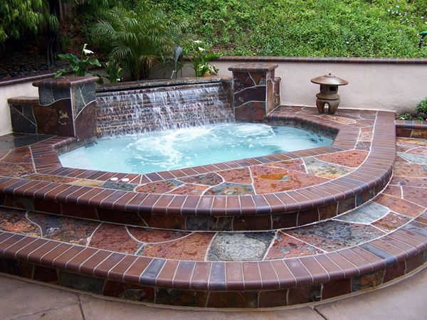 Waterfall, tiered steps, tiles - Outdoor Inground Spa