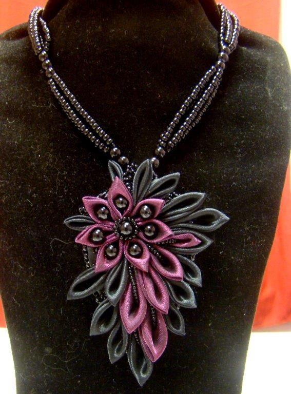 Flower Handmade Beadwork necklace kanzashi by akimova7771 on Etsy, $35.00