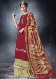 Wedding Wear Red Cotton Lace Border Work Plazzo