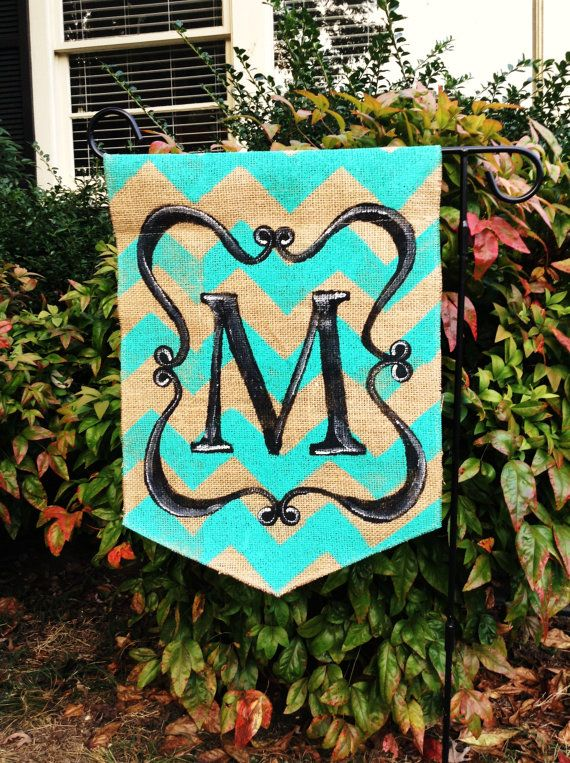 Burlap Garden Flag With Chevron Back Ground With A Black Scroll And  Monogram. Choose Your Chevron Color.