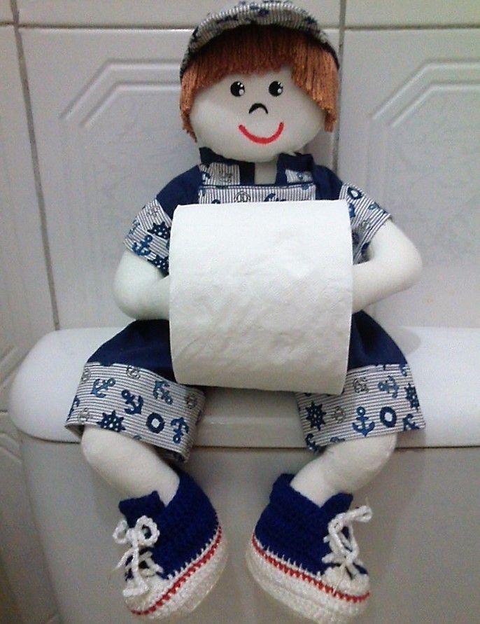 Boneco porta papel higiênico