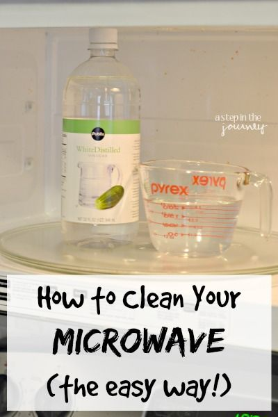 The quick way to clean your microwave! 1 cup of water with 1 tbsp vinegar... Microwave on high for 5 minutes. The stream loosens the gunk and you can wipe the world clean :)