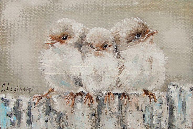 Купить Три маленькие птички... - бежевый, коричневый, птички, миниатюра, картина в подарок, подарок маме