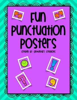 Fun Punctuation Posters!!  Need some punctuation posters for the class?  My kiddos loved using these as reference all year long.