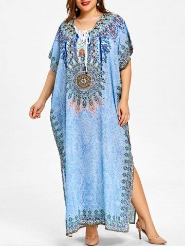 fb4d04ee90 Shop for Azure One Size Ethnic Print Lace Up Plus Size Kaftan Dress online  at  28.37 and discover fashion at RoseGal.com Mobile