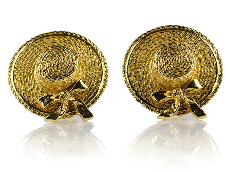 Chanel Vintage Gold Hat Earrings