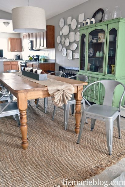 DIY No Sew Burlap Table Runner, wall of plates, green hutch