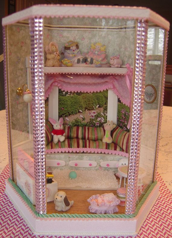 Miniature Children S Bedroom Room Box Diorama: REVISED!! Dollhouse Miniature Bay Window Seat / Day Bed