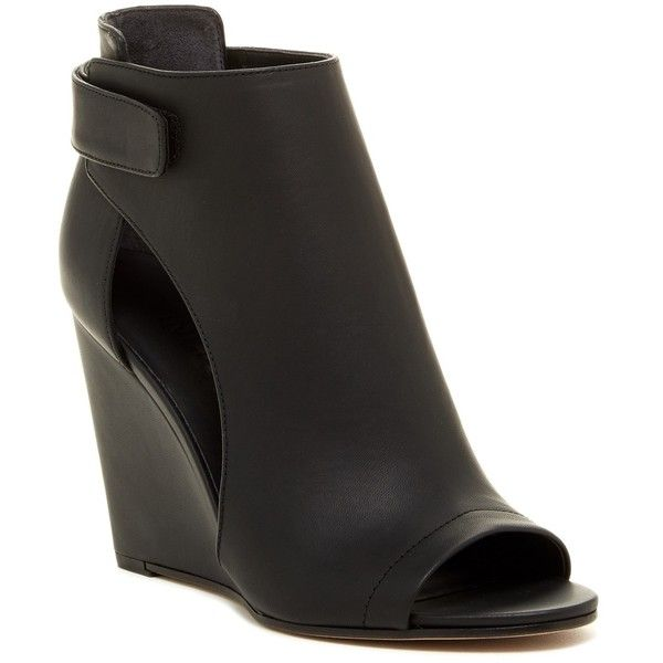 VINCE. Katia Bootie ($270) ❤ liked on Polyvore featuring shoes, boots, ankle booties, ankle boots, black, black open toe booties, black wedge ankle booties, wedge ankle boots and black wedge bootie