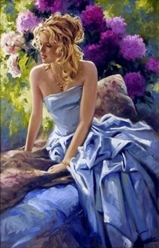 Blue dress with purple flowers in the background...how gorgeous!