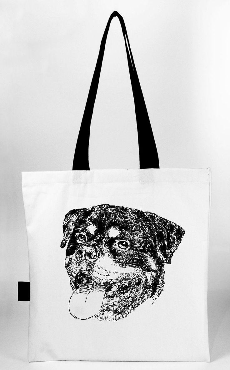Rottweiler hand screen printed tote bag