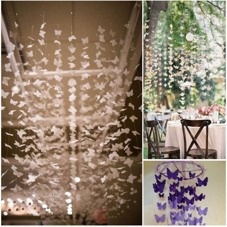 White Butterfly 2.8Meters/One Colorful Ribbon Wedding Birthday Decoration Hanging Party Suppliers  Streamers