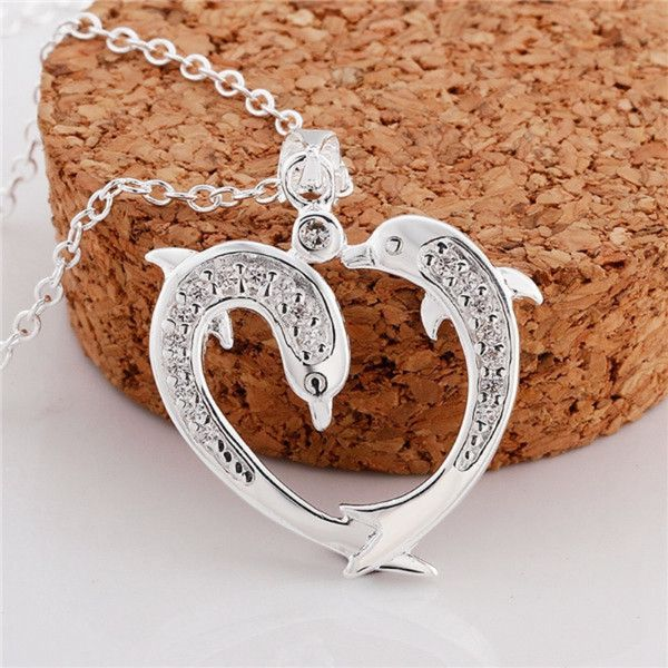 Korean 925 Silver Dolphin Heart-shaped Diamond All-match Necklace ($5.85) ❤ liked on Polyvore featuring jewelry, necklaces, silver heart necklace, silver jewelry, silver heart shaped necklace, diamond jewellery and diamond dolphin necklace